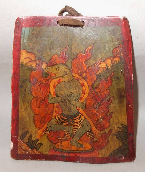 Wrathful Deity painting on bone - Nepal / Tibet - early 20th century