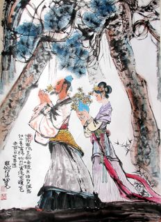 Hand painted reproduction of Cheng Shi Fa 程十发 (1921-2007)《浩荡春风 Travel in Spring》镜片 - China - late 20th/21st century