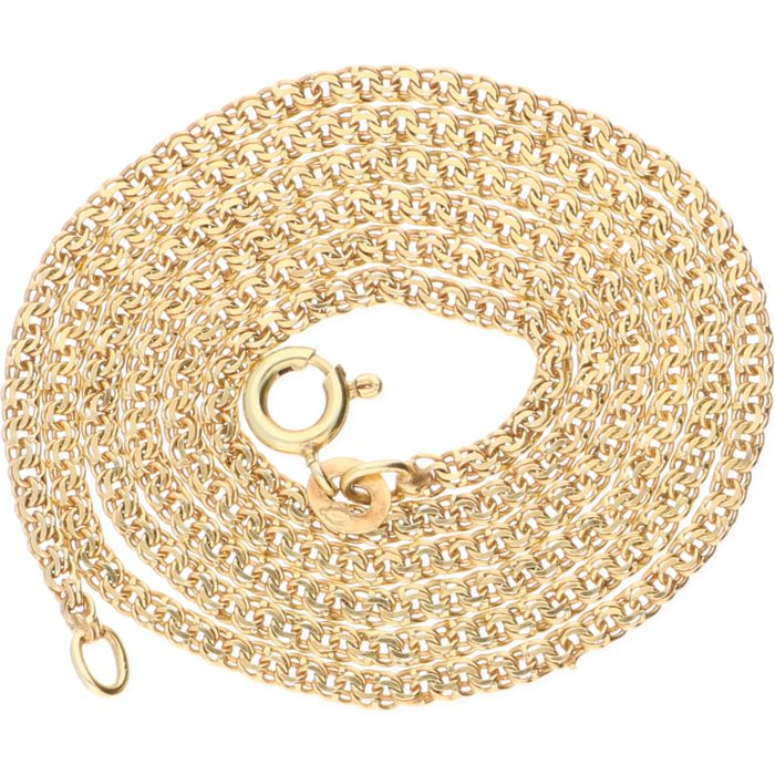 14 kt Yellow gold double curb link necklace – Length: 51 cm