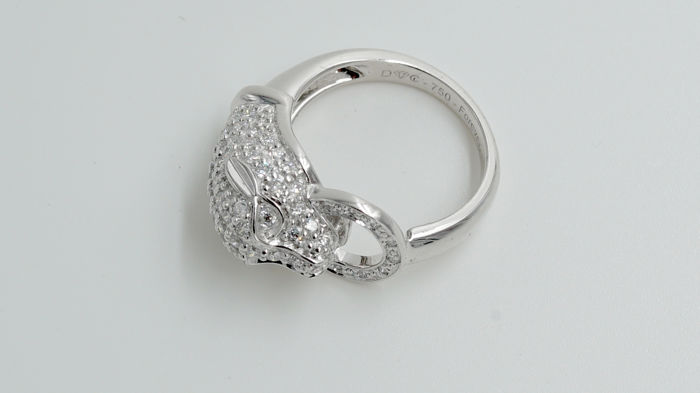 Diamond Ring Panther with Natural Loose Diamonds  1,15 ct - Available in Size 6/7/8