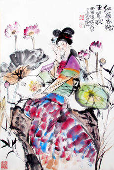 Hand painted reproduction of Cheng Shi Fa 程十发 (1921-2007)《红藕香 Beauty Charm》镜片 - China - late 20th/21st century