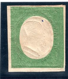 Sardinia 1854 - Colori inverti 40c. dark olive green instead of red - Sassone 12d