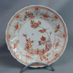 MILK & BLOOD plate with birds & insects decoration - China - 18th (Kangxi period)