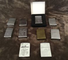 Lot  of 10 zippo lighters.