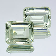 2 Prasiolite pieces (Green Amethyst) – 12.31 ct in total (6.08 + 6.23 ct) – No Reserve Price.