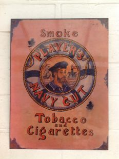 Emaille reclamebord smoke - players navy cut