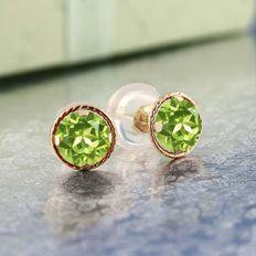 Yellow gold earrings, 14 kt, with peridot; 5 mm in circumference