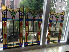 Three magnificent old Jugendstil stained glass windows / suncatchers with soft colours and mosaic - from approximately 1890