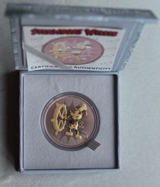 "Niue – 2 dollars – Mickey Mouse ""Steamboat Willie"" – 1 oz silver – rose gold gilded"