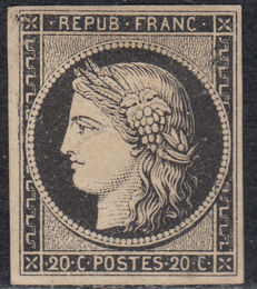 France, 1849 - Type: Ceres - 20 c black - Yvert no. 3