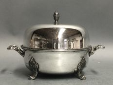 Silver plated butter dish with lid on four claw feet, Victorian, England, ca. 1900