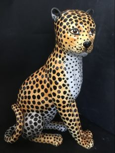 Porcelain sitting leopard, 1970, Italy