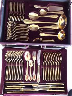 Nivella Solingen - 72 piece gold plated luxury cutlery - cutlery for 12 people - 1000 fine gold - 23/24 karat - hard gold plated in original box