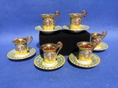 Six pieces of porcelain, gilded mocha cups and saucers