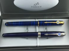 2x Parker Sonnet Fountain pen with clip emblem Mint Condition.
