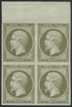 France 1860 – Napoleon 1c olive, block of 4 with Certificate – Yvert No. 11
