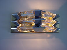 BAKALOWITS, 2 wall lamps, gold-filled metal and 6 crystal rods with chrome elements