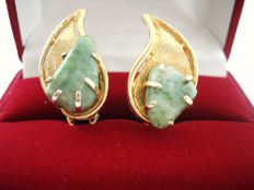 Vintage 1970s - Gold plated leaf shaped Earrings with genuine Jade - NO Reserve