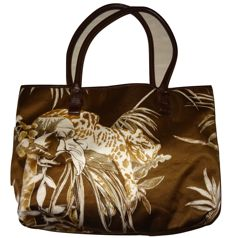 Ferragomo - beautiful jungle print bag with free matching sandalettes, made of leather and silk