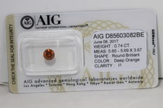 Deep Orange Diamant - 0.74 ct - I1