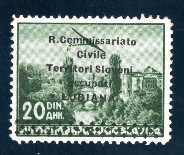Italy Lubiana 1941 - Airmail 20 d. dark green in rare perf. 12 1/2 x 12 3/4- Sass. N. 7/I