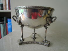 Round silver coupe on silver base with swans, Polen, 1920-1963