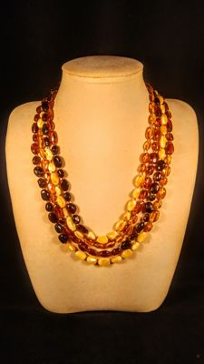 4 long 100% Genuine Baltic Amber necklaces, 47 grams