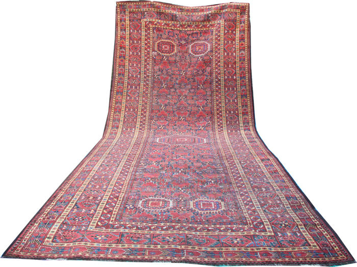 "Antique handmade Beshir large carpet from Turkmenistan size 520cm x 235cm (17'x7'7"")"
