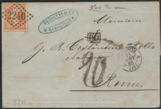 France 1865 Taxed letter, Marseille for Italy by steamship ROMA VIA DI MARE - Yvert n° 23