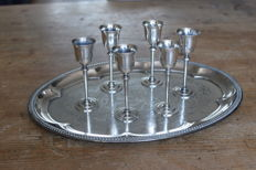 Six liqueur glasses on serving tray, France, first half 20th century