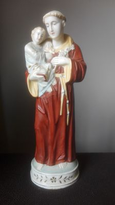 St. Francis with child, biscuit sculpture 20th century