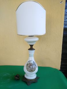 Old big oil and electric lamp in hand painted opaline with bronze base.