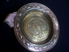 Antique large size decorated Nuremberg brass baptismal scale - dated 1503