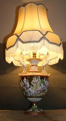 Italian ceramic lamp richly decorated and signed