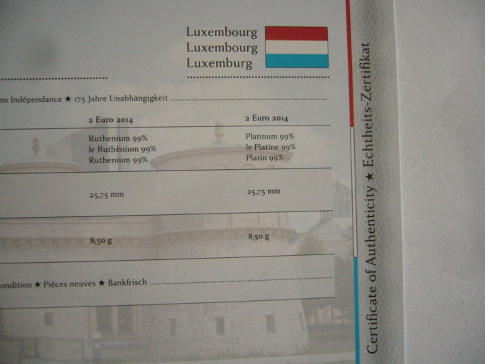 Europe - luxembourg 2014 (2 Euro plated \
