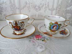 2 English cups and saucers, collector's items -To commemorate the coronation of Queen Elizabeth II - June 1953