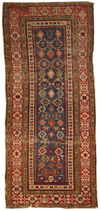 Hand made antique Caucasian Kuba runner 3.6' x 8.1' ( 110cm x 247cm ) 1880s