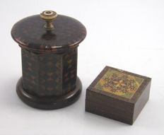 Antique Tunbridge Ware travelling inkwell & stamp box – English – 19th century