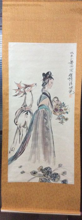 Painting of The deer and the girl, made after Chen shefa - China - late 20th century