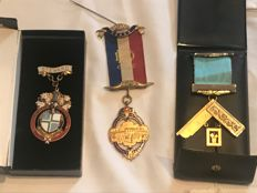 Collection of 3 rare boxed  Masonic medals some rare items