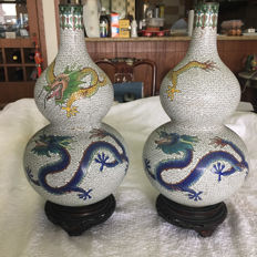 Two cloisonne dragon vases - China - second half 20th century
