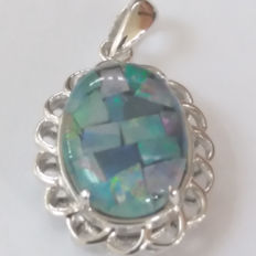 Rare, Authentic Australian Mosaic Opal Pendant from Coober Pedy Mine 14x10mm. Talking point