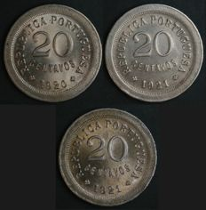 Portugal – 3 x 20 Centavos Coins – 1920 + 1921 P Open + 1921 P Closed – Complete Collection – Portuguese Republic – Lisbon – Rare in FDC condition