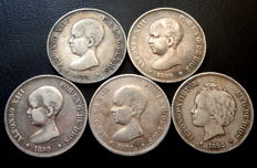 Spain – 5 pesetas - 1888–1892 – Alfonso XIII – 5 coins – All different – Silver