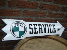 Enamel Puch service arrow sign pointing right - modern replica