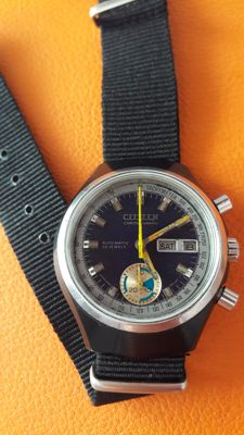 Citizen,chronograph ,flyback  ,sport ,   Rare black safe ,1970s