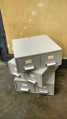 Designer unknown – Lot with three stackable, small filing cabinets