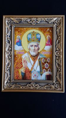 St.Nicholas Icon with Natural Amber, No Reserve