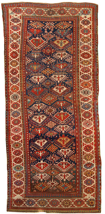 Hand made antique Caucasian Kazak runner 4' x 9.2' ( 123cm x 281cm ) 1880s