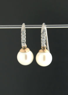 Bi-Colour Earrings  Pearl and diamond 0.10ct Length 20mm ***no reserve price***